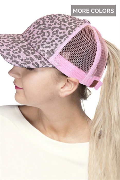 Picture of Glitter Leopard Ponytail Cap