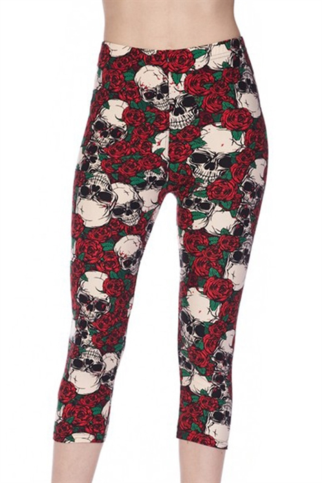 Picture of Rose Splatter Skulls Capris