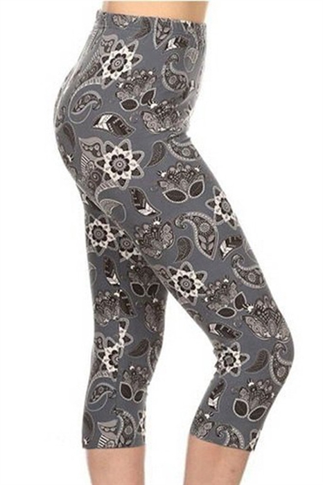 Picture of Grey Floral Paisley Capris