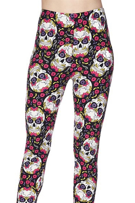 Picture of Pink and Purple Rose Skull Capris
