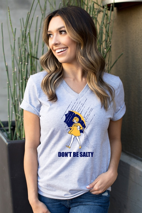 Picture of Don't Be Salty Grey V-Neck Graphic Tee