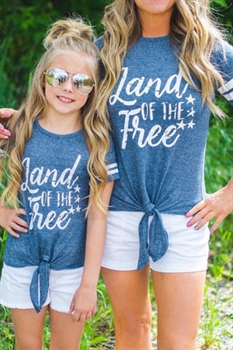 Picture of Mommy & Me Tie Bottom Land of the Free Tee